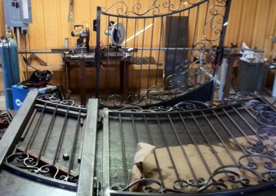 Boyd custom iron driveway gate production