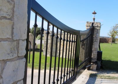 black custom iron driveway gate