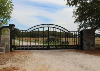 driveway iron gate with control panel