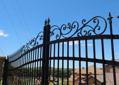fancy custom iron driveway gate details