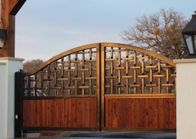 lattice gate wood insert arch gate braided