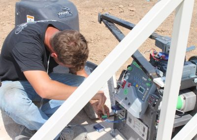 frankie installing swing security gate with F-1 operator