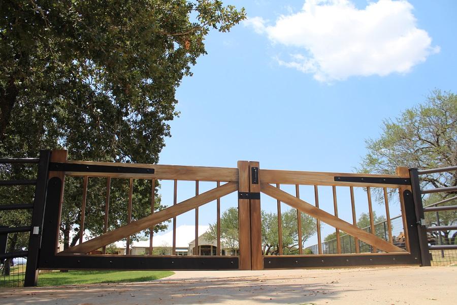 woodgrain painted iron gate