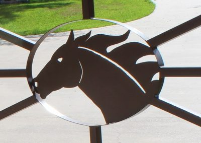 iron racehorse head on driveway gate