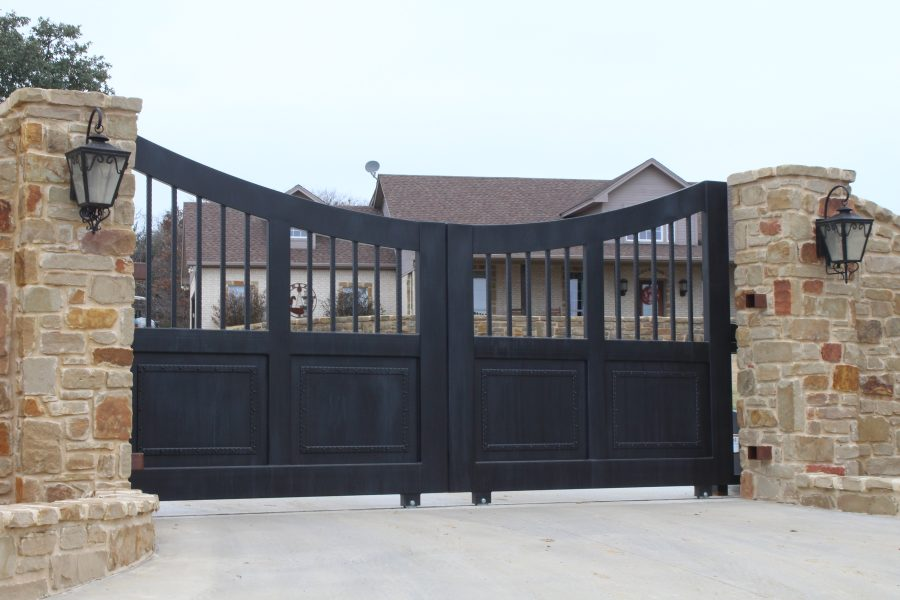 rustic faux painted double slide gates