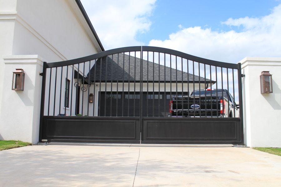 modern-french matte-black driveway gates