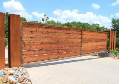 Modern Rust Patina Sliding Driveway Gate