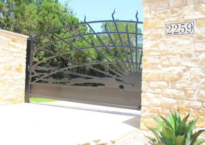 Lake House Sunset Custom Iron Gate