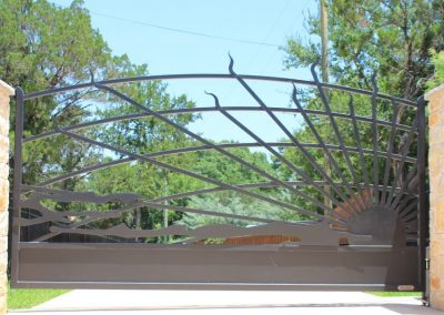 lake house iron gate