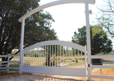 arched iron header and gate