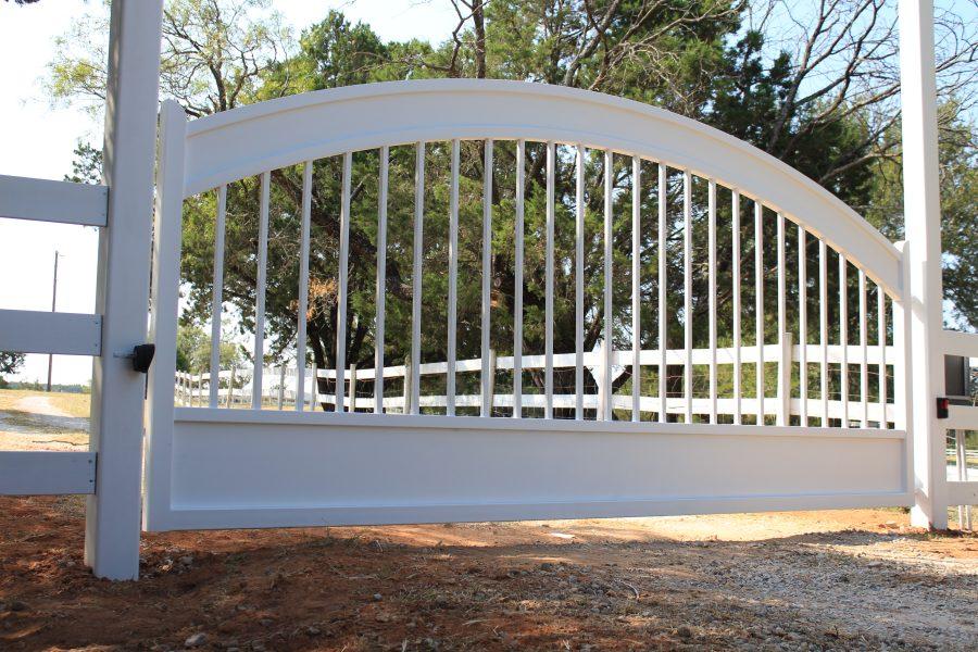 white washed iron gate