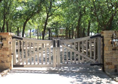 faux-painted weathered wood aluminum gate