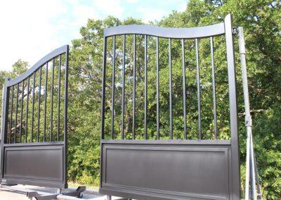 modern satin black driveway gates
